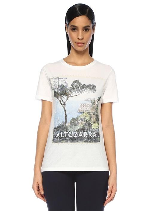 Zef Beyaz Bisiklet Yaka Baskılı T-shirt