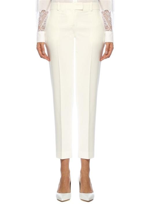 Beyaz Normal Bel Dar Paça Pantolon