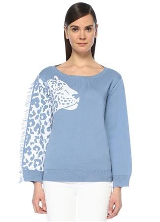 Hayley Menzies Kadın Panthera Mavi Beyaz Jakarlı Püsküllü Sweatshirt S EU