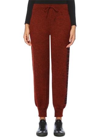 Missoni Kadın Kiremit Yüksek Bel Yanı Logo Şeritli Yün Pantolon Kırmızı 38 IT