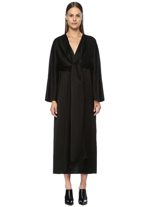 Clementine Siyah Önü Bağcıklı Maksi Saten Elbise