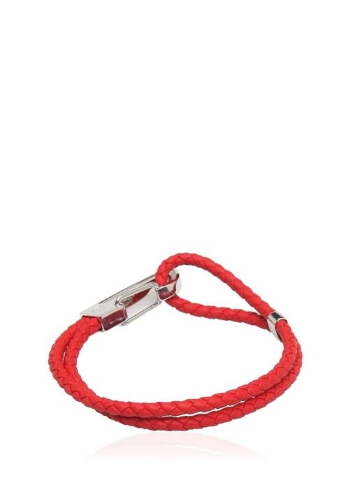 Kırmızı Örgü Dokulu Unisex Deri Bilezik