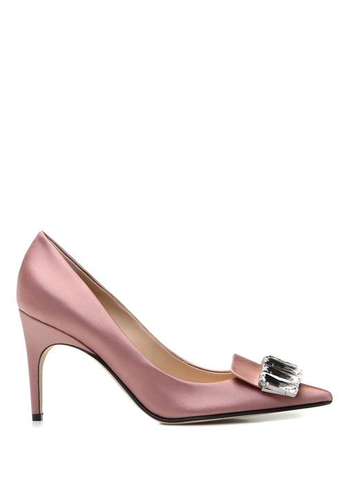 Pembe Taş Detaylı İpek Topuklu Ayakkabı