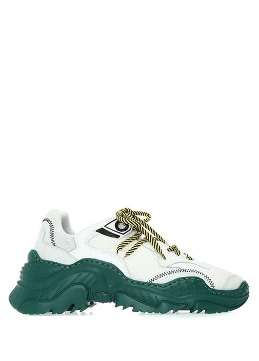 Beyaz Yeşil Garnili Kadın Sneaker