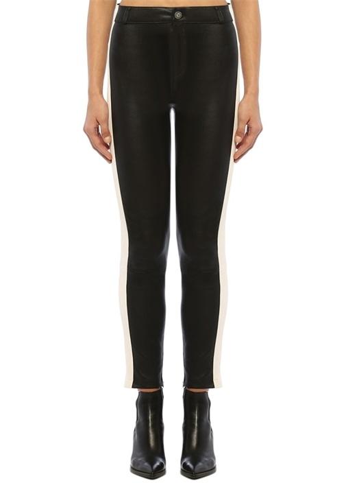 Siyah Yüksek Bel Yanı Şeritli Deri Pantolon