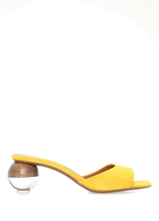 Opus Sarı Topuk Detaylı Kadın Süet Terlik