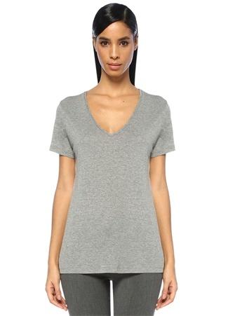 Beymen Collection Kadın Gri Melanj V Yaka Basic -shirt XXL Ürün Resmi