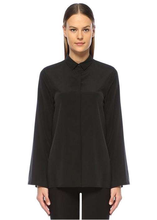 Siyah Önü Kısa Yırtmaç Detaylı İpek Gömlek