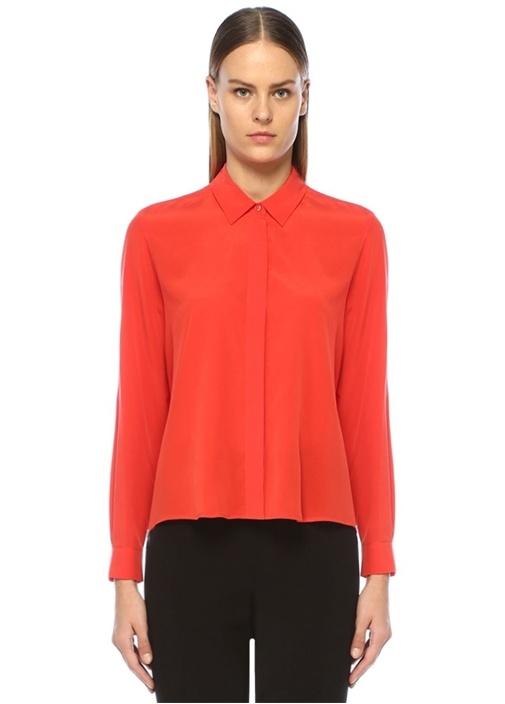 Kırmızı Önü Kısa İpek Gömlek