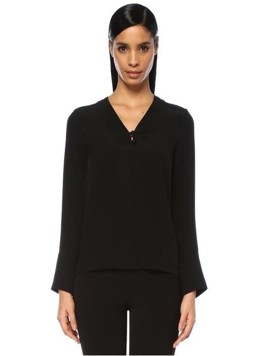 Siyah V Yaka Rugan Düğmeli Uzun Kol Bluz
