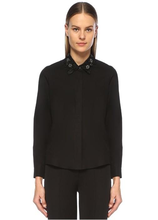 Siyah Taş İşlemeli Organze Yaka Detaylı Gömlek