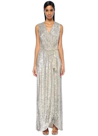 Maison Kairos Kadın Avyllon Silver V Yaka Payetli Maksi Anvelop Elbise Gri 40 EU