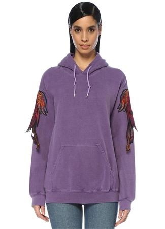 Kadın Phoenix Mor Kapüşonlu Patch Detaylı Sweatshirt M EU