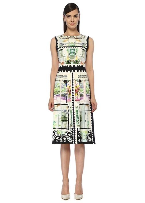 Mary Katrantzou Osmond Siyah Beyaz Desenli Kolsuz Midi Elbise – 8095.0 TL