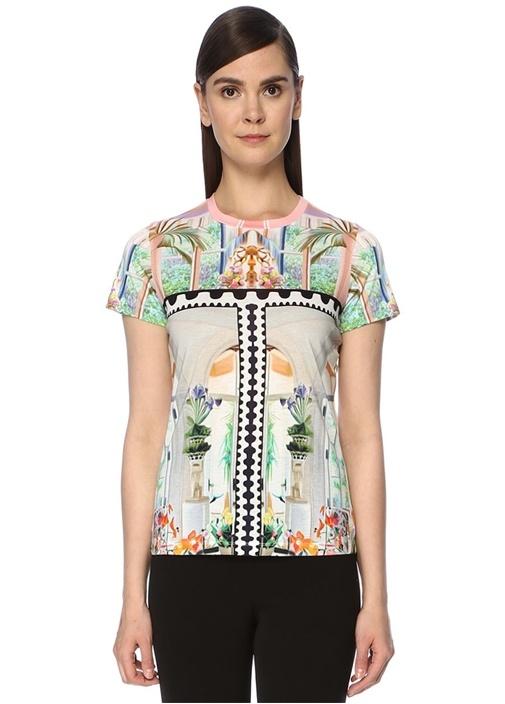 Blanche Bisiklet Yaka Desenli T-shirt