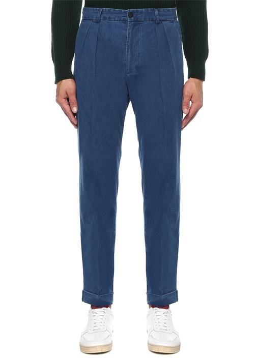 Athi Denim Görünümlü Boru Paça Pantolon