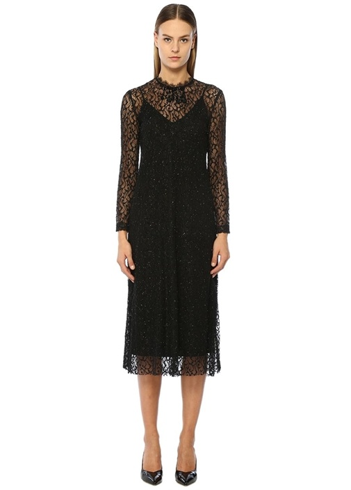 Siyah Boncuk Detaylı Dantelli Midi Elbise