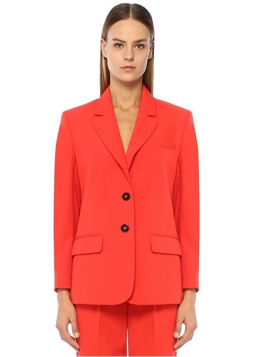 Kırmızı Kelebek Yaka Astar Detaylı Ceket