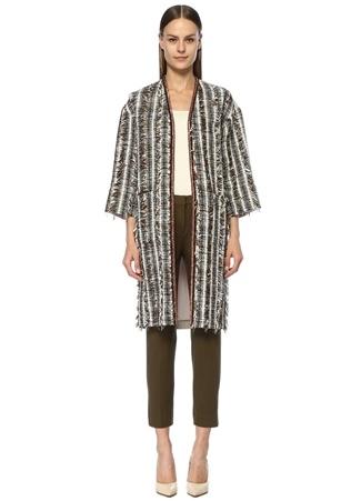 Kadın İşleme Detaylı Arkası Garnili Uzun Tweed Pardösü Haki 36