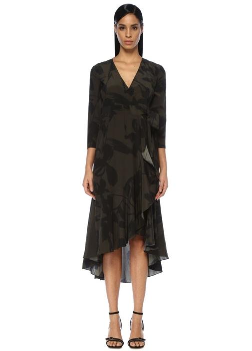 Beymen Collectıon Haki V Yaka Çiçekli Midi İpek Anvelop Elbise – 1499.0 TL