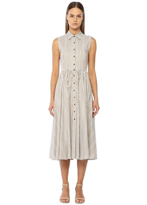 Beyaz Bej Çizgili İngiliz Yaka Midi Gömlek Elbise