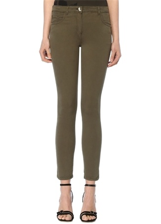 Haki Normal Bel Dar Paça Streç Pantolon