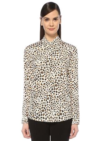 Beyaz Leopar Desenli İngiliz Yaka İpek Gömlek