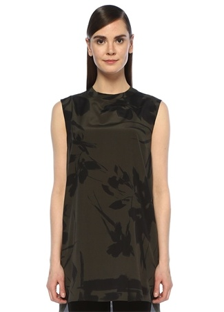 Kadın Haki Siyah Çiçekli Zincir Şeritli Uzun İpek Bluz 42