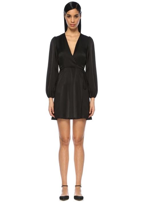 Siyah V Yaka Uzun Kol Mini Anvelop Abiye Elbise