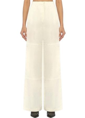 Academia Kadın Beyaz Bol Kesim Yüksek Bel Keten Pantolon 40
