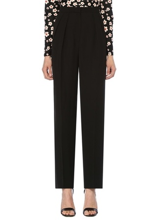 Siyah Yüksek Bel Boru Paça Pileli Pantolon