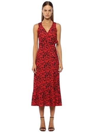 Kadın Kırmızı Kruvaze Desenli Midi Elbise 42