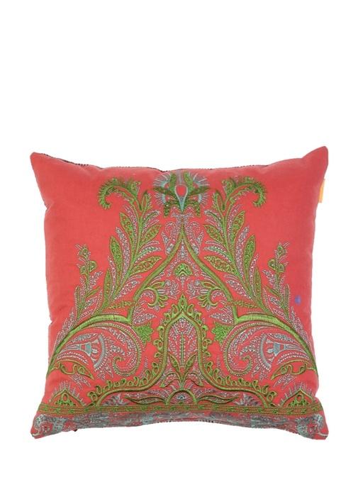 Kırmızı Ekoseli Nakışlı Dekoratif Kaşmir Yastık