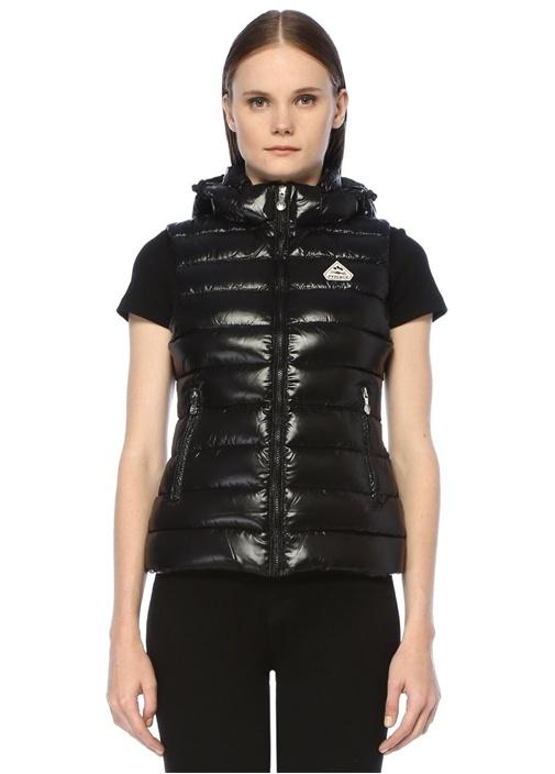 Spoutnic Vest Shiny Siyah Kapüşonlu PufYelek