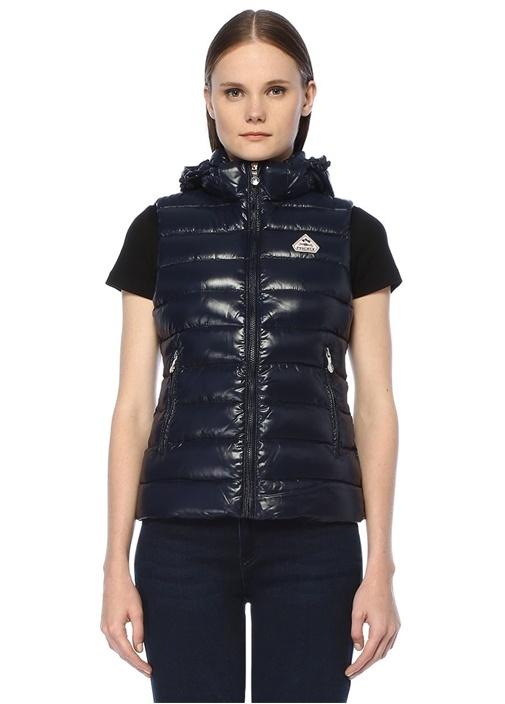 Spoutnic Vest Shiny Lacivert Kapüşonlu Puf Yelek