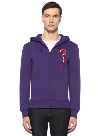 Whiplash Erkek Mor Kapüşonlu Yılan Nakışlı Sweatshirt XL Ürün Resmi