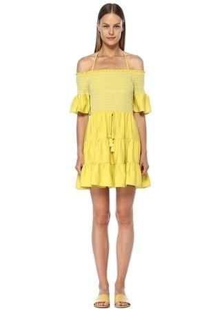 Lost+Wander Kadın Mojito Sarı Omzu Açık Büzgülü Mini Elbise L EU