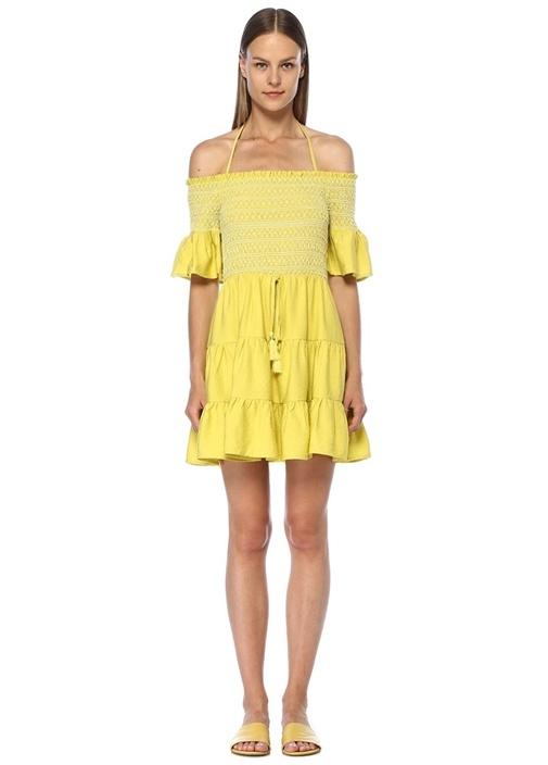 Mojito Sarı Omzu Açık Büzgülü Mini Elbise