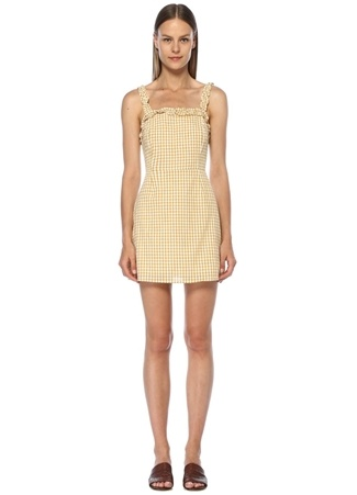 Lost+Wander Kadın Mimosa Sarı Pötikareli Fırfırlı Mini Elbise Beyaz S EU