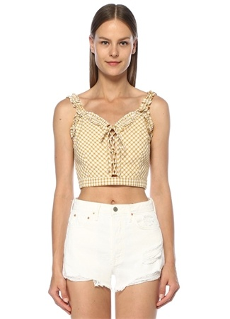 Lost+Wander Kadın Mimosa Sarı Pötikareli Fırfırlı Crop Bluz Beyaz L EU