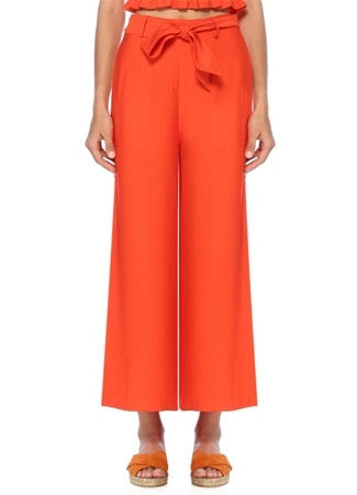 Lost+Wander  Kadın Turuncu Beli Kuşaklı Bol Paça Pantolon Kırmızı XS EU