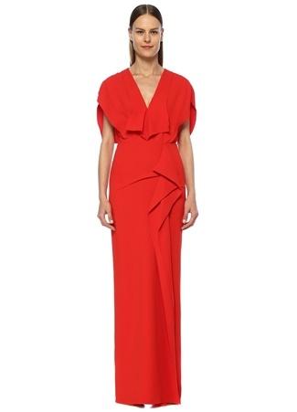 4c4ffb9b943ac Lorre Kırmızı V Yaka Volan Detaylı Maksi Elbise