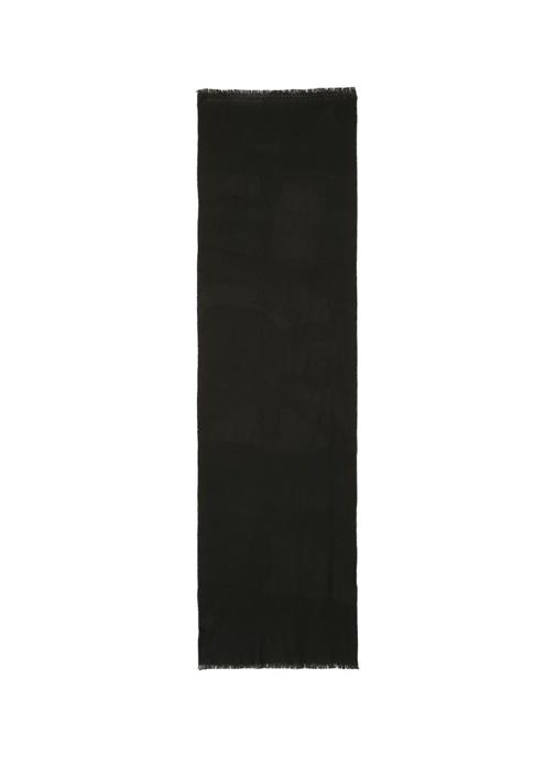 Siyah Dokulu Erkek Yün Atkı