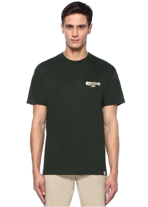 Yeşil Bisiklet Yaka Logo Baskılı T-shirt