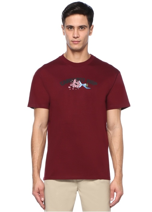 Bunch Of Flower Bordo Baskılı Basic T-shirt
