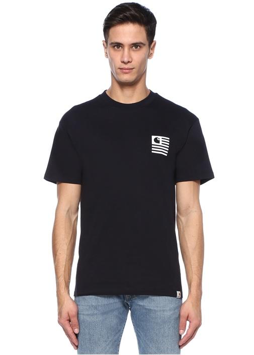 Lacivert Bisiklet Yaka Baskılı T-shirt