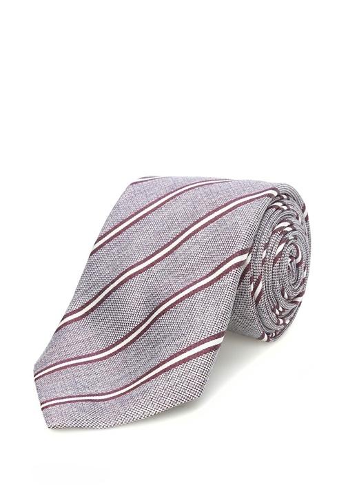 Bordo Çizgili İpek Kravat