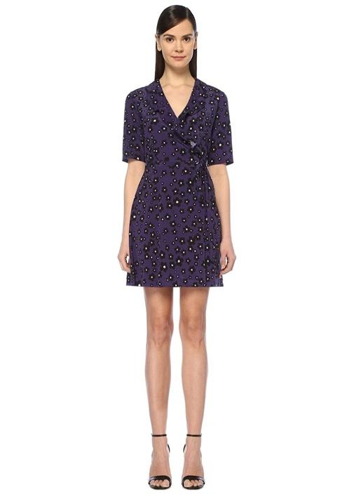 Mor Çiçekli Fırfırlı Mini İpek Anvelop Elbise