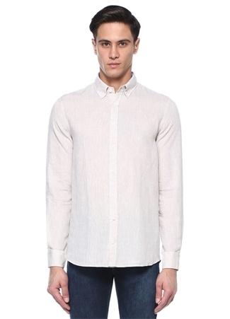 Comfort Fit Bej Düğmeli Yaka Keten Gömlek