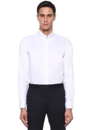 Custom Fit Beyaz Düğmeli Yaka Gömlek